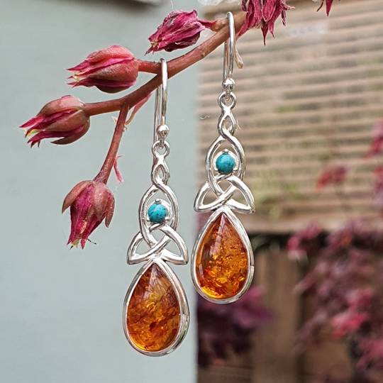 Silver amber earrings with infinity knot and turquoise gemstone