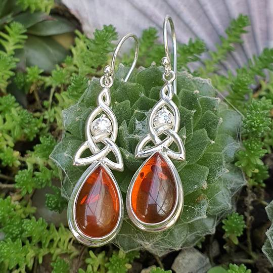 Silver amber earrings with infinity knot and cz gemstone