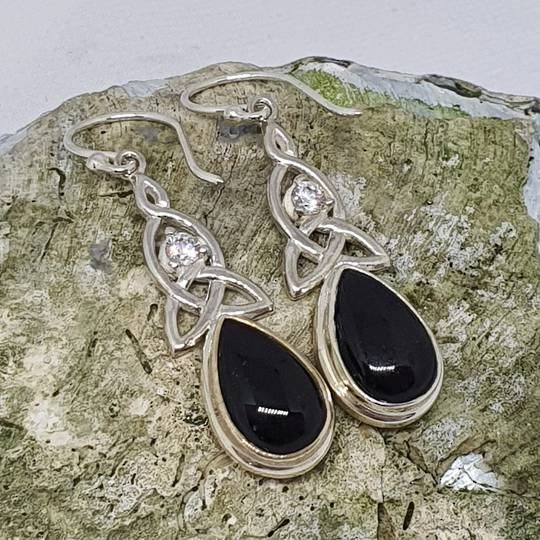 Silver onyx earrings with infinity knot and cz sparkle