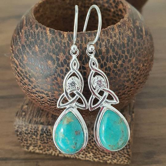 Silver turquoise earrings with infinity knot and cz