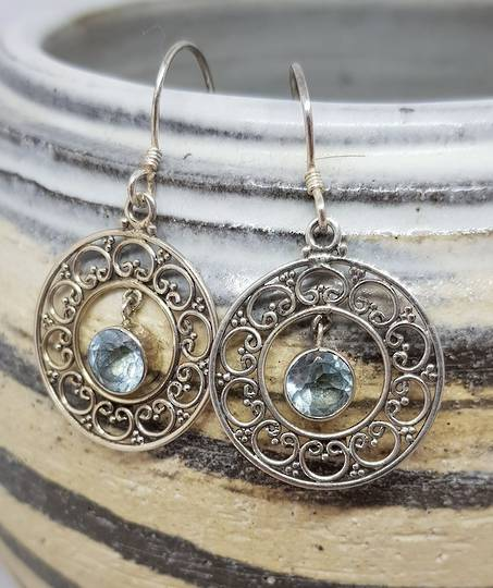 Sterling silver delicate blue topaz earrings