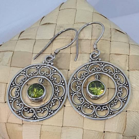 Silver lace hoop earrings with green peridot