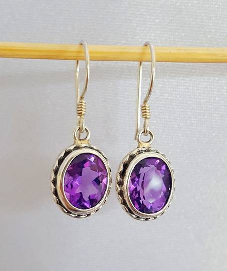 Sparkling sterling silver amethyst earrings
