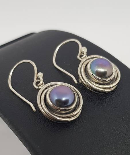 Deep grey pearl earrings, sterling silver
