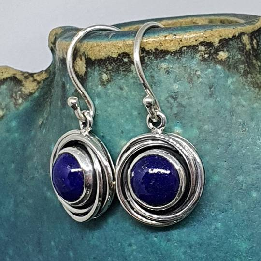 Lapis lazuli sterling silver earrings