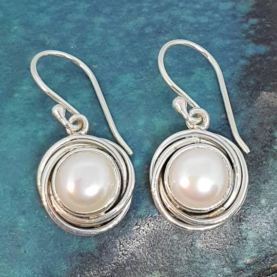 Modern design, silver pearl earrings