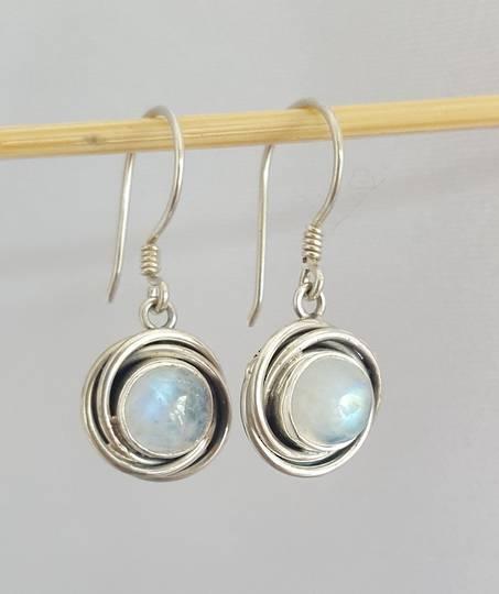 Circular silver moonstone earrings