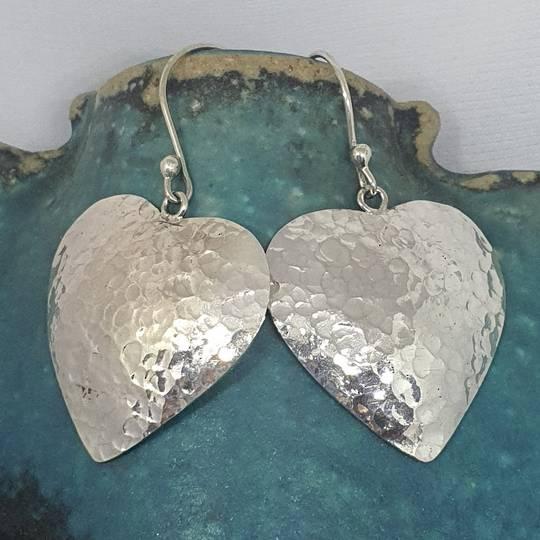 Sterling silver large heart earrings