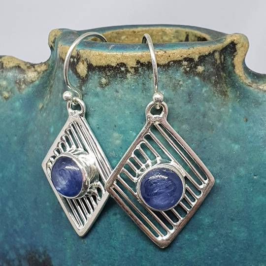 Sterling silver and blue kyanite gemstone earrings