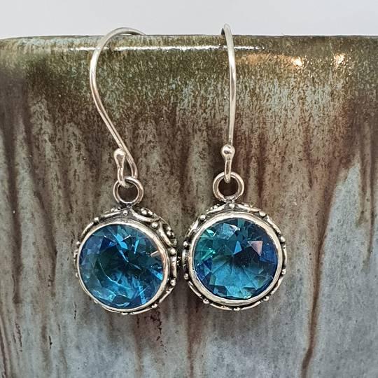 Dazzling blue topaz silver hook earrings