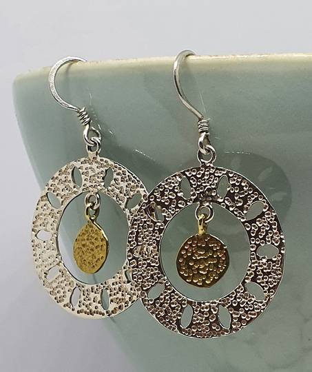 Sterling silver lightweight hammered silver hoops