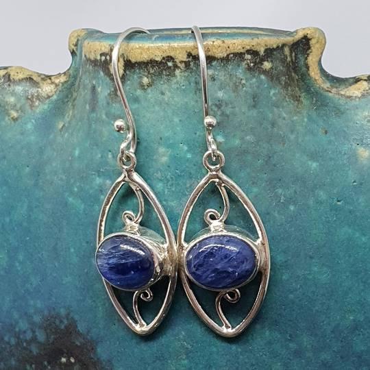 Sterling silver blue kyanite gemstone earrings