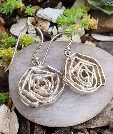 Sterling silver arty flower earrings