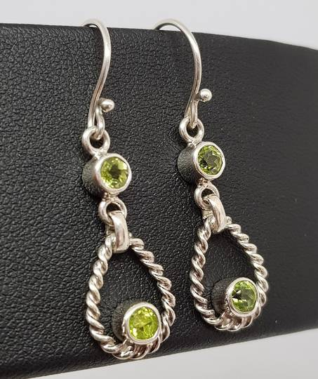 Silver peridot earrings, longer hook style