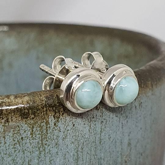 Tiny round larimar gemstone stud earrings