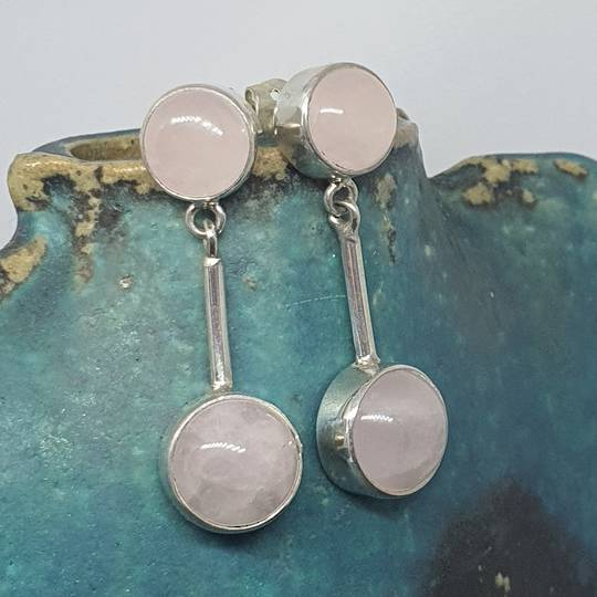 Sterling silver rose quartz long stem earrings