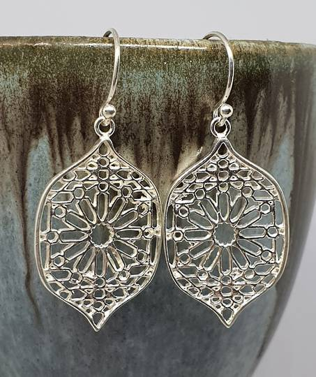Sterling silver statement flower earrings