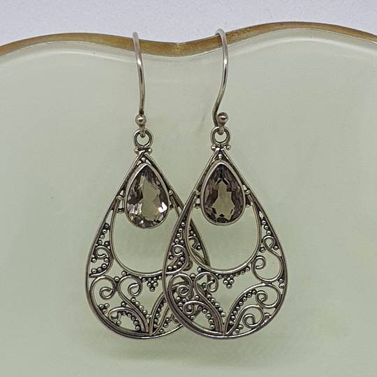 Romantic filigree silver smoky quartz earrings