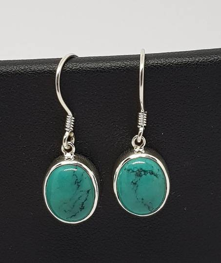 Sterling silver oval turquoise hook earrings