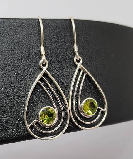 Silver peridot earrings, open teardrop shape