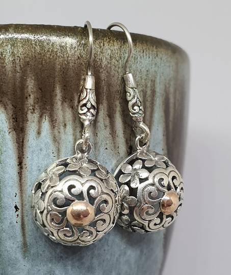 Sterling silver sphere earrings