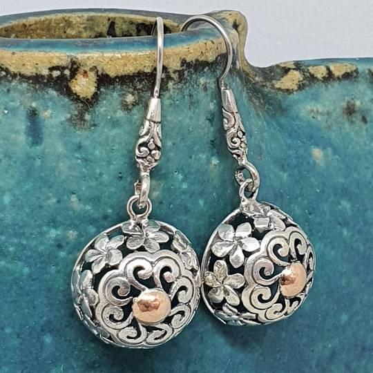 Sterling silver sphere earrings