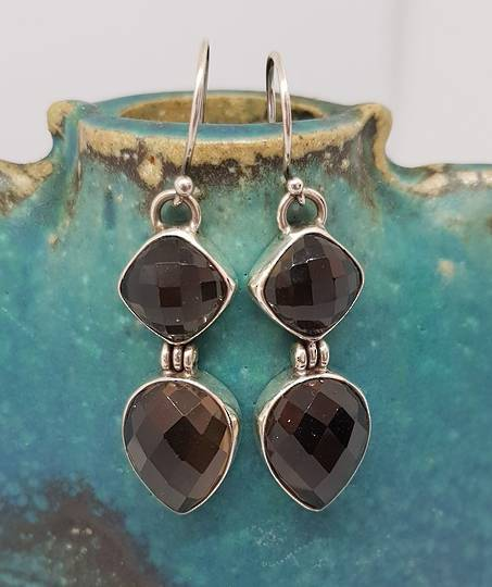 Long elegant smoky quartz silver earrings