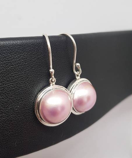 Sterling silver pink pearl hook earrings