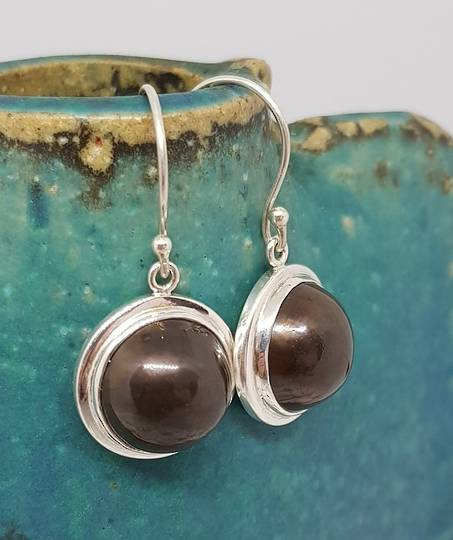 Sterling silver black pearl hook earrings
