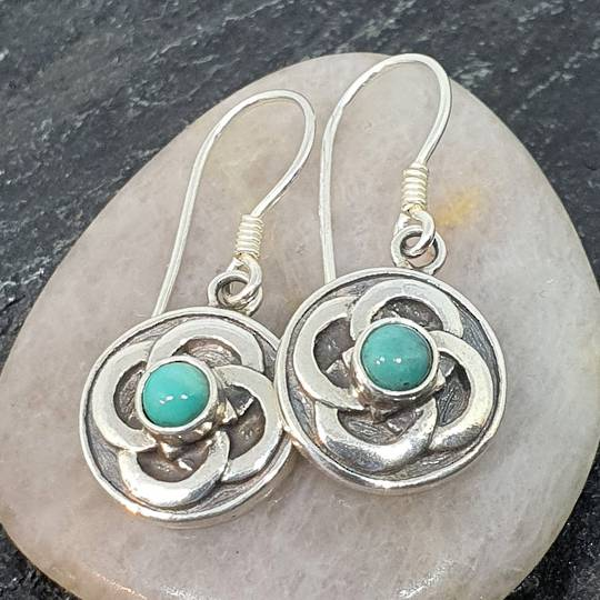 Silver turquoise round flower earrings