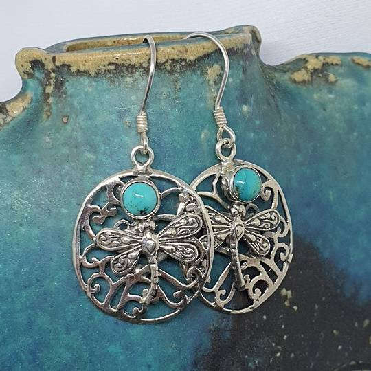 Silver turquoise large oval earrings
