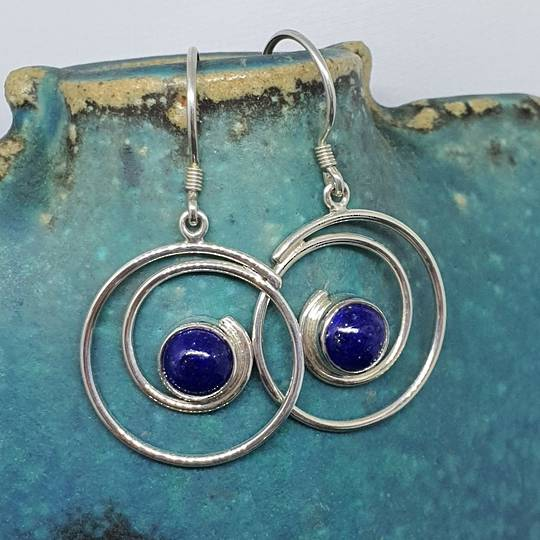 Lapis lazuli sterling silver spiral earrings