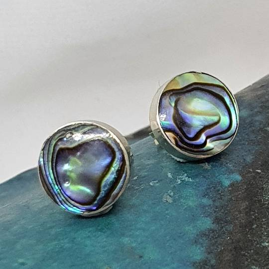 Round paua shell stud earrings