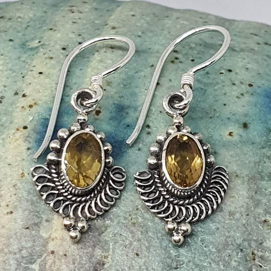 Silver citrine hook earrings