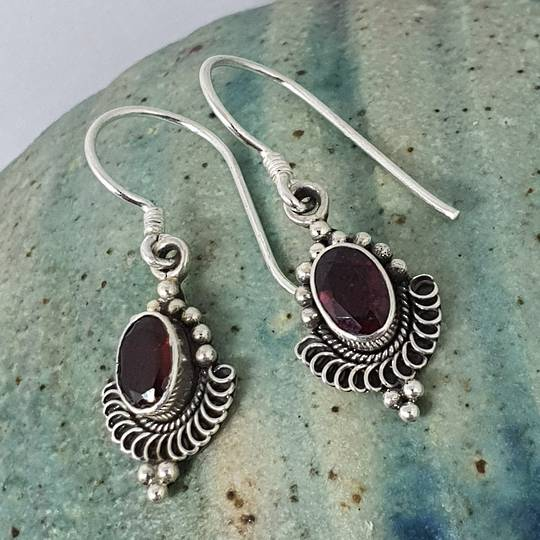 Sterling silver delicate garnet earrings