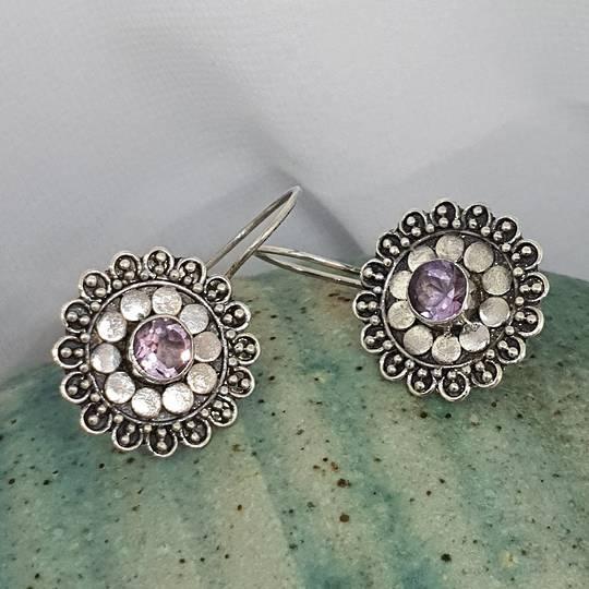 Silver purple gemstone flower earrings