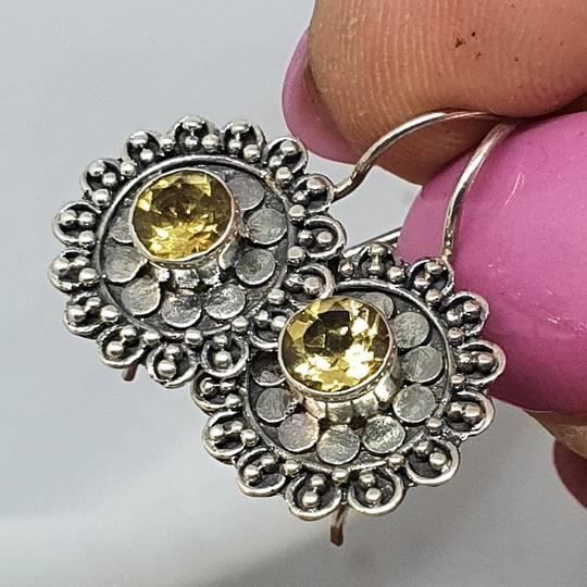 Silver citrine flower earrings