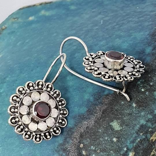 Silver red garnet flower earrings