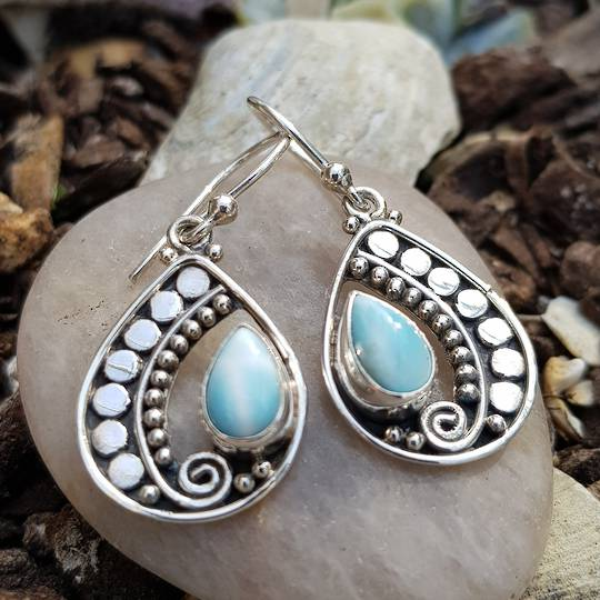 Stunning open silver teardrop earring with larimar gemstone