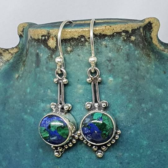 Sterling silver azurite malachite gemstone earrings