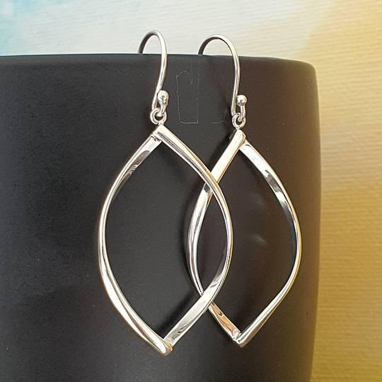 Sterling silver hooked hoop earrings