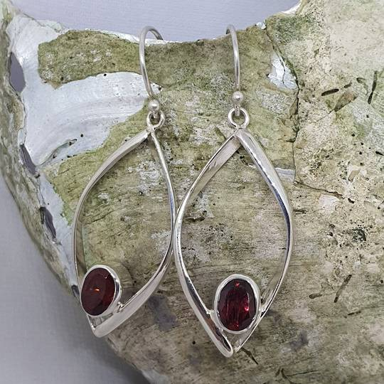 Sterling silver open teardrop earrings with garnet