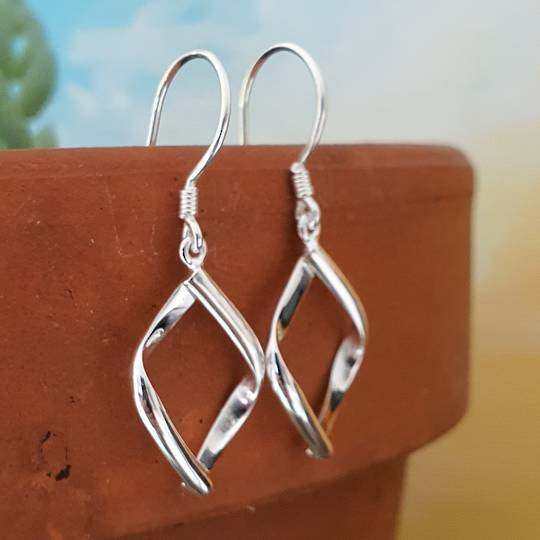 Sterling silver small hooked hoop earrings