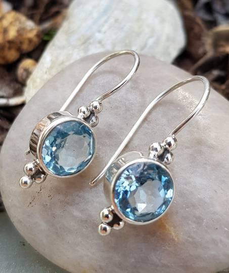 Sterling silver blue topaz hook earrings
