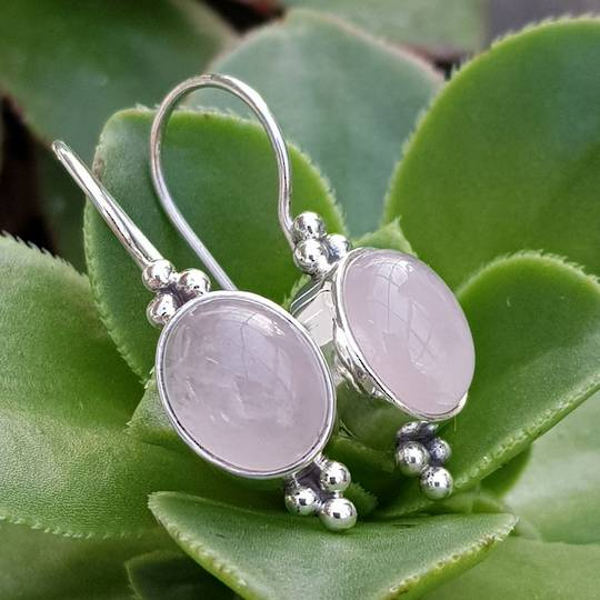 Sterling silver rose quartz hook earrings