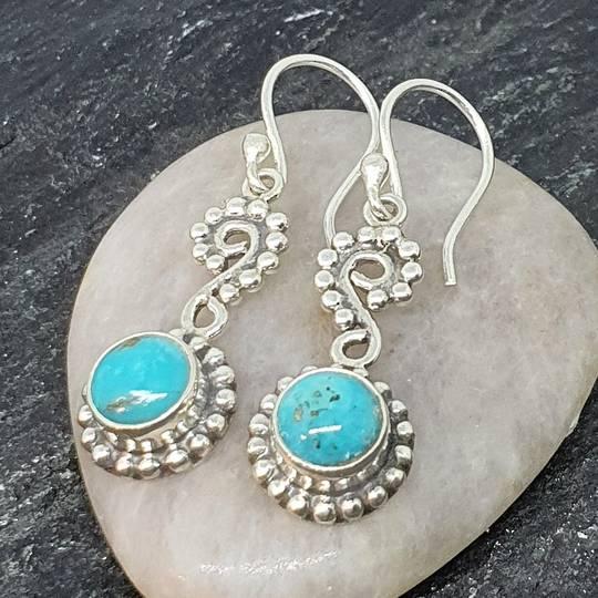 Sterling silver turquoise koru earrings