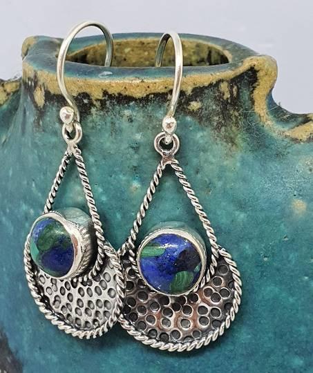 Sterling silver azurite malachite gemstone earrings