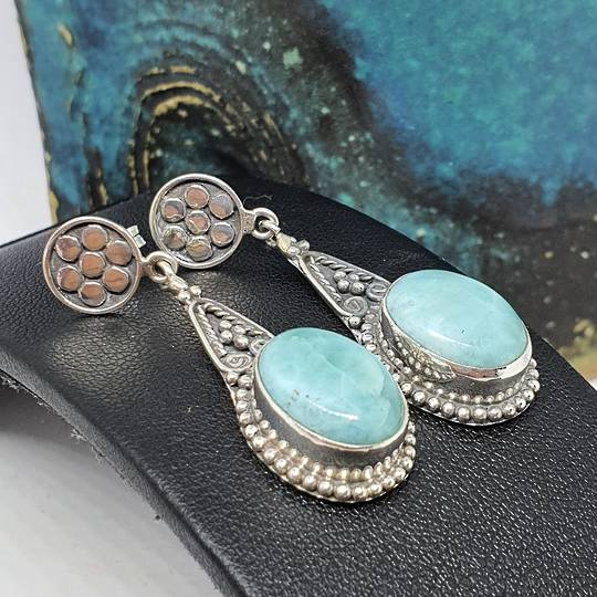 Oval larimar gemstone, long teardrop silver earrings