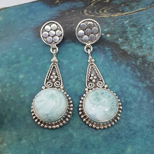 Round larimar gemstone, long teardrop silver earrings