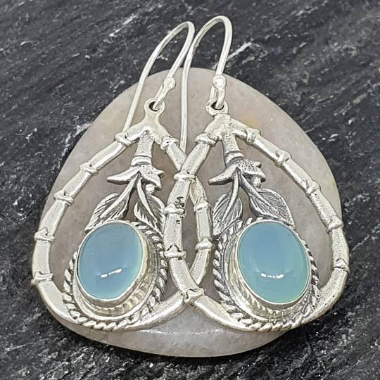 Silver chalcedony earrings